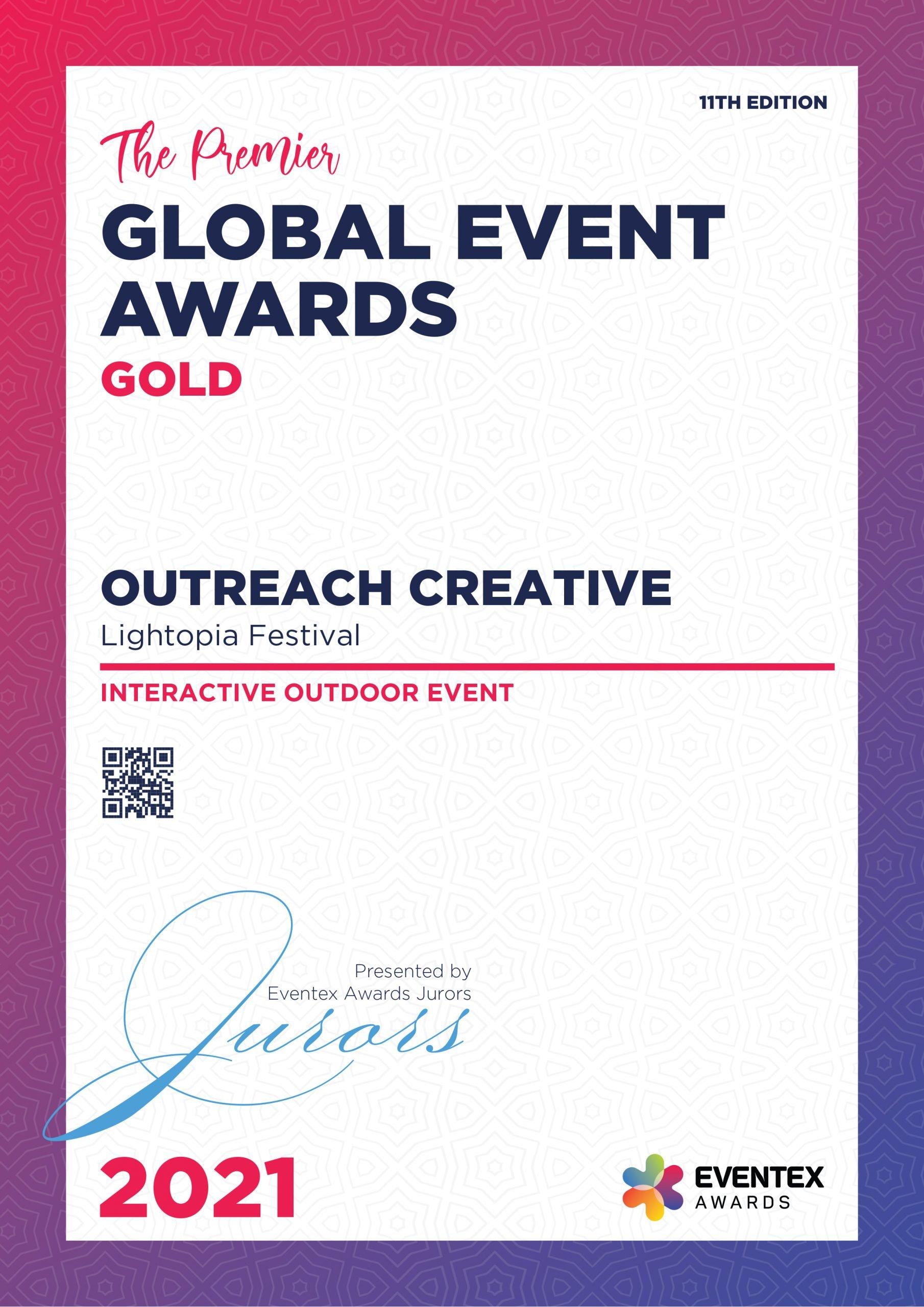 OUTREACH CREATIVE-Interactive Outdoor Event-Gold-Eventex-2021