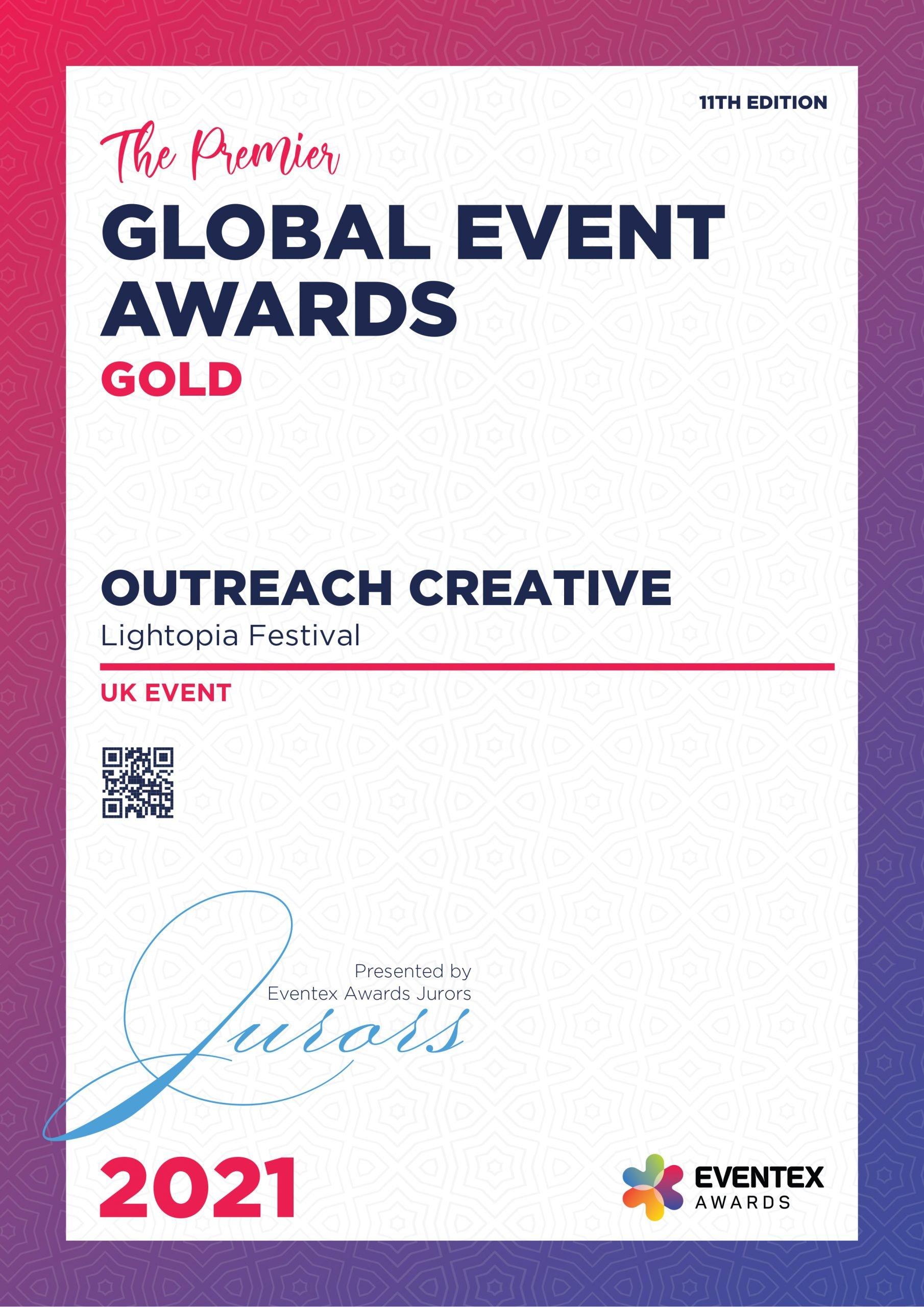 OUTREACH CREATIVE-UK Event-Gold-Eventex-2021